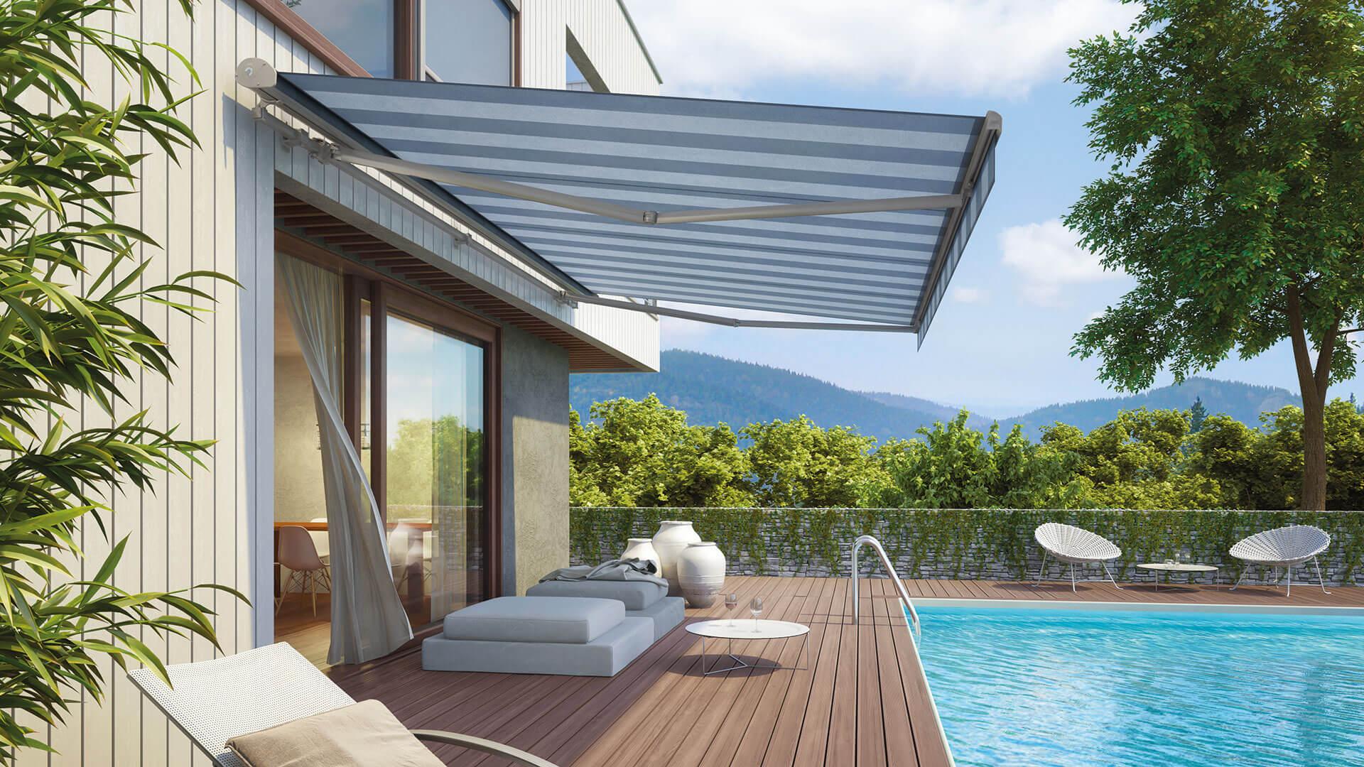 markise, aussenbeschattung, terrassenbeschattung, gelenkarmmarkise, bremetal, premiummarkise, markisenstoff, sonnenschutz