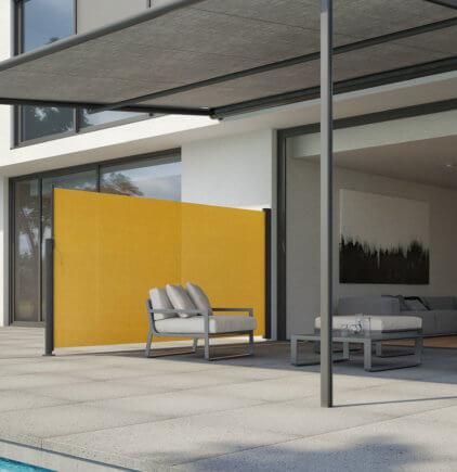 Windwand, Sichtschutzwand, Seitenmarkise, Schiebemarkise