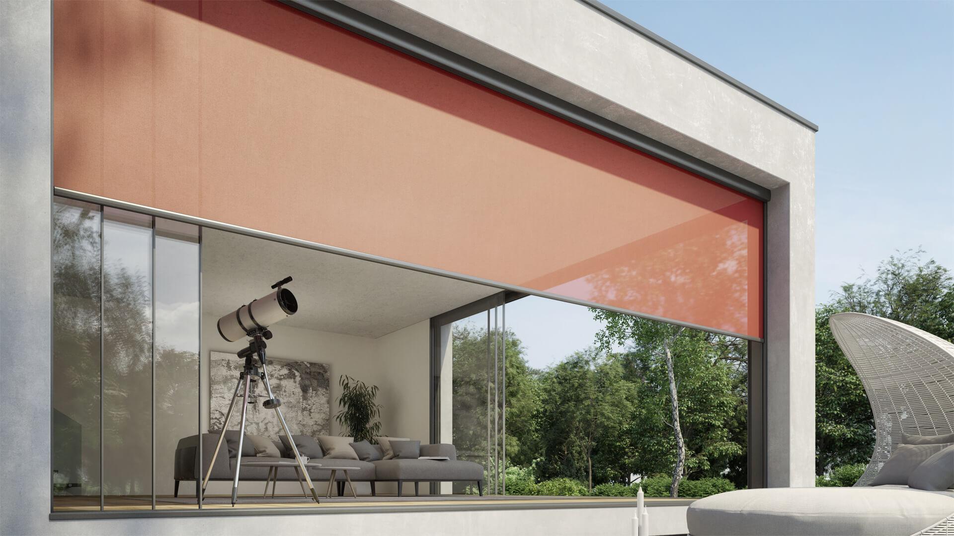 ZIP, Fenstermarkise, Fassadenmarkise, Senkrechtmarkise, Screen, Beschattung, Sonnenschutz, Hitzeschutz, Blendschutz, Fenstermarkise